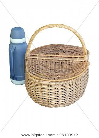 Picnic Basket and Thermos Flask isolated with clipping path