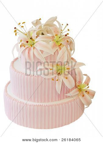Three Tiered Iced Cake with Icing Orchid Decoration isolated with clipping path