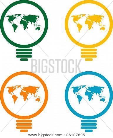 mapa del mundo en la ilustración de la bombilla - vector