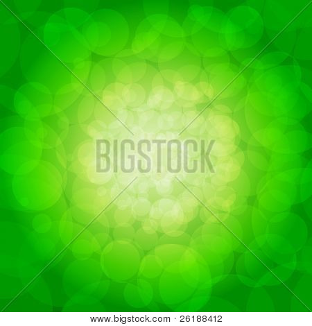 Glittering green lights background