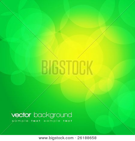 Glittering green lights background with text - vector