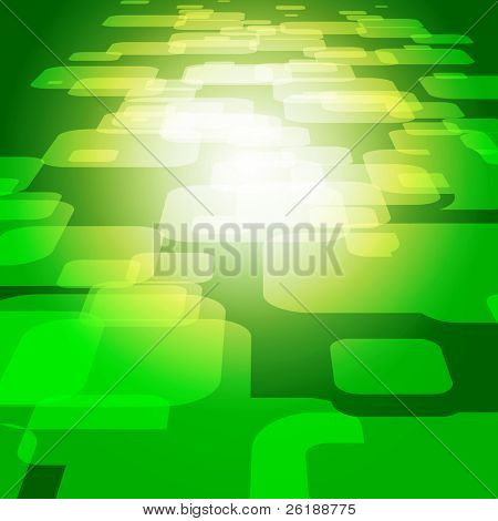 Vector 3D square on the green background