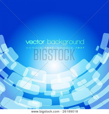 Vector warped square on the blue background with text