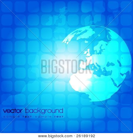 Blue abstract vector background with world globe on square pattern