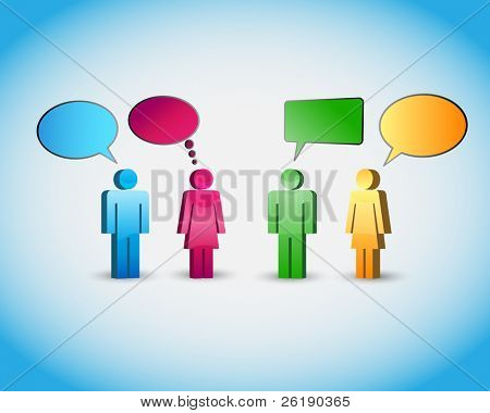 A group of pictogram are talking - finally vector background