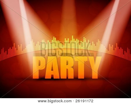 EPS10 3D Party Text with Colorful Lights Vector Design - Equalizer Background