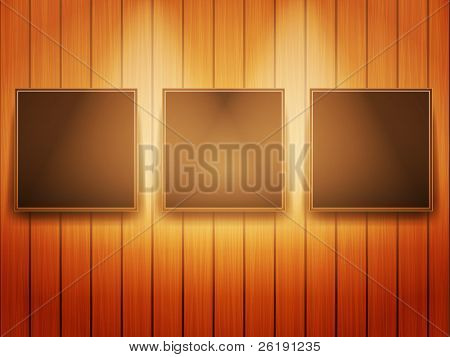 Three Frames of Picture on the Wooden Wall - Realistic Vector Design