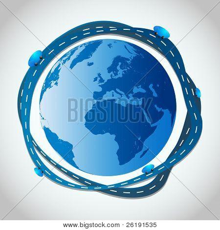 Abstract Illustration - Blue Roads Around Globe - EPS10 Vector Design