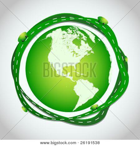 Abstract Illustration - Green Roads Around Globe - EPS10 Vector Design