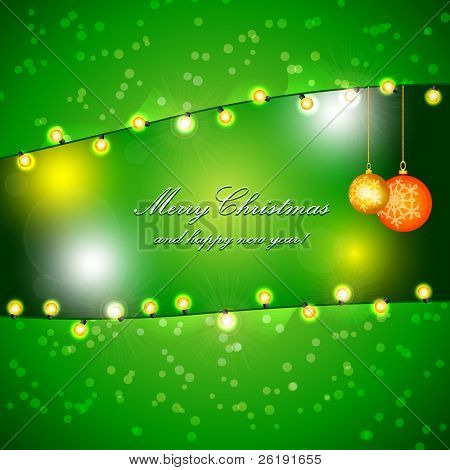 Green Holiday Xmas Vector Design with Frame of Heart. Christmas balls and lamp festive garland.
