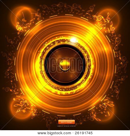 Audio Speaker with Music Notes - Gold Abstract EPS10 Vector Design