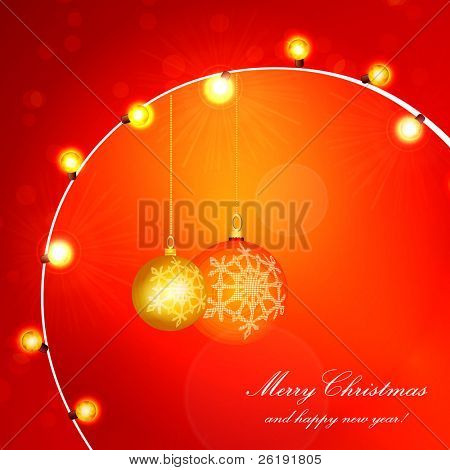 Red Holiday Xmas Vector Design with Frame. Christmas balls and lamp festive garland.