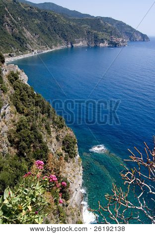 Window view of picturesque coastline in Cinque Terre, Italy