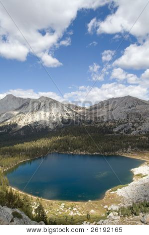 High alpine lake with clouds in Yosemite National Park
