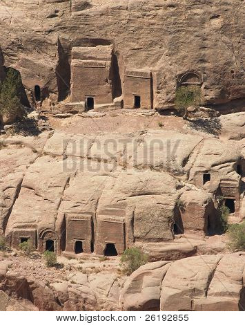 Tombs of poorer families in the necropolis at Petra, Jordan.