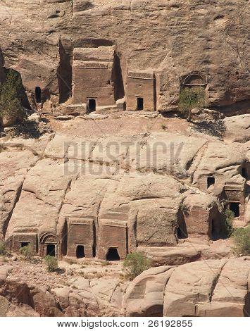 Tombs of poorer families in the necropolis at Petra, Jordan.