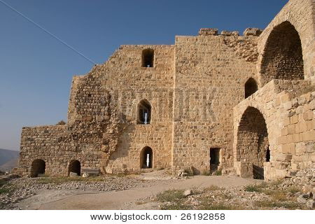 Part of the ruins of Karak Castle, Jordan, which was the main Crusader stronghold in its province of Oultre Jourdain and the administrative capital