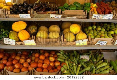 : A fruit shop display in Crete. The tags show the names of the various items in Greek.
