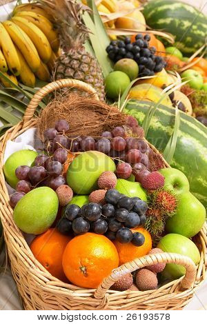 A display of fresh fruits with a basket