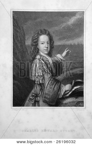 1845 line engraving of the Young Pretender, Prince Charles Edward Stuart, based on an original from Hampton Court Palace.