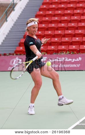 World No2 Svetlana Kuznetsova of Russia in action at the Qatar Total Open Tier 1 tournament in Doha, Feb 20, 2008