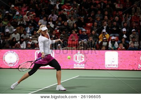 Maria Sharapova during her semi-final victory in the Qatar Total Open, February 23, 2008. She won the title the next day