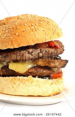 A mushroom and cheese burger with tomato on a plate