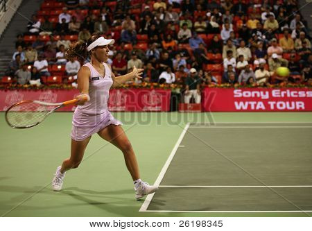 DOHA - September 27:  File photo of tennis great Martina Hingis playing in Qatar in 2006. Doha will host the WTA championships from Oct 26, 2010, with a prize fund of more than US$4.5m
