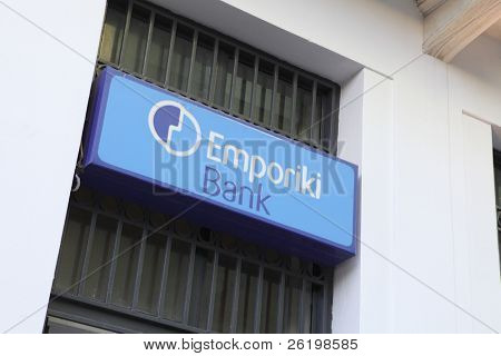 HERAKLION, GREECE - JULY 27: An Emporiki Bank branch in Heraklion, Crete.  Emporiki's owner, Credit Agricole risks credit downgrading over its 3.8bn euro Greek sovereign debt on July 27, 2010 in Heraklion, Crete, Greece
