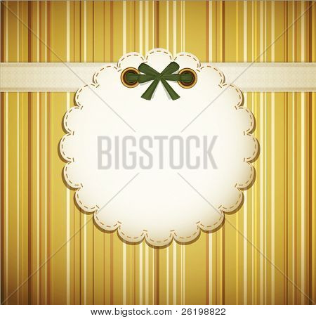 greeting card on a beige background with bow (JPEG version)
