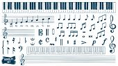 Music Notes Doodles Set. Piano Keys Sketch. Treble Clef. Hand Drawn Detailed Sketch. G-clef. Scribbl poster