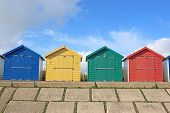 Beach Huts On Dawlish Warren Seafront, Devon poster