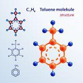 Structure Of Molecules. 3 D Toluene Molecule. Icon And Chemical Formula, C7h8, 2d & 3d. Vector Illus poster