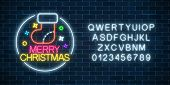 Glowing Neon Christmas Sign With Christmas Sock And Alphabet. Christmas Symbol Web Banner In Neon St poster