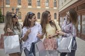 Shopping With A Smile.shopping Fun. Beautiful Girls Talking About Shopping, Girls Talk. Shopping And poster