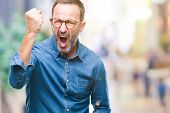 Middle age hoary senior man wearing glasses over isolated background angry and mad raising fist frus poster