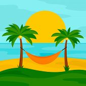 Hammock On The Beach Concept Background. Flat Illustration Of Hammock On The Beach Vector Concept Ba poster
