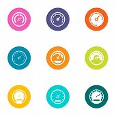 Greater Speed Icons Set. Flat Set Of 9 Greater Speed Vector Icons For Web Isolated On White Backgrou poster