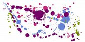 Paint Stains Grunge Background Vector. Hipster Ink Splatter, Spray Blots, Dirty Spot Elements, Wall  poster