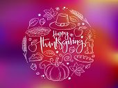 Vector Greeting Thanksgiving Banner With Hand Lettering Label - Happy Thanksgiving - With Bright Doo poster