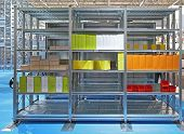 Movable Metal Shelving Units In Storage Room Archive poster