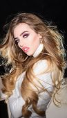 Gorgeous Long Hair. Luxury Look. Haircare, Beauty&health Concept. Professional Makeup. Romantic Woma poster