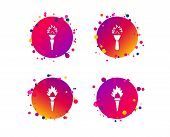 Torch Flame Icons. Fire Flaming Symbols. Hand Tool Which Provides Light Or Heat. Gradient Circle But poster