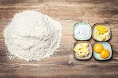 Ingredients For Fresh Bakery Goods, Cookie Dough Or Biscuits, Flatlay poster