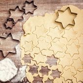 Flatlay, Cookie Dough With Cookie Cutters And Flour, Homemade Christmas Bakery poster