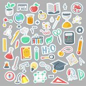 Colored Funny Back To School Supplies, Elements And Objects. Autumn Back To School Supplies In Funny poster