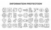 Computer Security Icon Set. Outline Set Of Computer Security Vector Icons For Web Design Isolated On poster