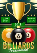 Постер, плакат: Pool Billiards Tournament Announcement Poster Color Balls With Numbers And Gold Trophy Cup On Green