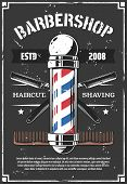 Barbershop Retro Poster With Sharp Old Razor. Haircut And Beard Styling, Shaving Salon For Men Or Hi poster