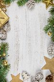Christmas Theme Background In Vintage Tone. Rustic Wood Background For Christmas With Copy Space For poster